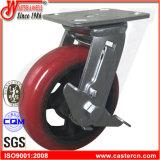 4 Zoll-Korea-Art-Roheisen PU-Schwenker-Fußrolle mit seitlicher Bremse