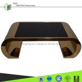 De klassieke Koffietafel van de Basis van het Staal van het Gouden Plateren met Zwart Glas, verstrekt Aangepaste Oplossing