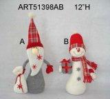 Pupazzo di neve e Santa della decorazione di natale con Gift-2asst