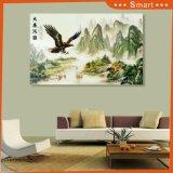 景色モデルNo.のワシの記号を用いる壮大な見通しの絵画および大きく高く高い山および村: WL0217