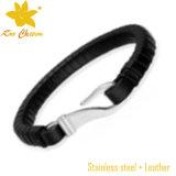 Bracelete de couro unisex do grânulo preto do Mens Stlb-020