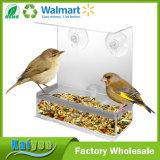 Casa plástica de acrílico inusual del alimentador del pájaro de la ventana con las tazas de la succión