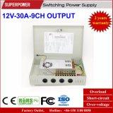 fuente de alimentación de la conmutación de la cámara del CCTV de la salida de 12V 30A 9CH