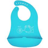 ピンク象のキャッチャーが付いている柔らかい衣服FDA/LFGBの承認の赤ん坊の摩耗のシリコーンの胸当て