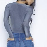 Form-Frauen kleidet reizvoller dünner V-Stutzen Bodysuit Bluse