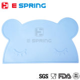 Bear Design Food Grade Silicone Kids Placemats Flexible Baby Dining Mats