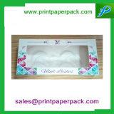 Cadre cosmétique pliable personnalisé de cadre de bijou de caisse d'emballage de cadre de papier de cil avec le guichet
