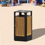 屋外の鉄の粉のCoateの灰皿が付いている固体木のガーベージのごみ箱
