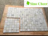 Mosaïque de marbre blanche de l'Italie, tuiles de mosaïque carrées de marbre d'or de Calacatta