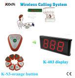 Беспроволочный Ce звонока трактира системы звонока кельнера ый включая индикацию с вызывным звонком
