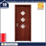 A entrada exterior do painel de vidro interior luxuoso da madeira contínua projeta a porta