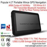 """Fábrica de la venta caliente 4.3"""" portátil en el tablero de coches Navegador GPS con ARM Cortex A7, la CPU de 800 MHz, la precarga del mapa de IGO; transmisor de FM; manos libres Bluetooth; ISDB T TV"""