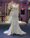 Ajuste e vestido de casamento clássico de Satin&Tulle do Neckline do barco do alargamento