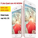 2017 nieuwe identiteitskaart Fingerprint 5.5inch RAM 1GB+16GB Cellphone van Core 4G WCDMA Metal Body Real 4G Lte Real Touch van de Vierling van Free Shipping Goophone I7 Plus