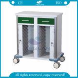 Chariot à rapport médical de fichier d'hôpital d'acier inoxydable d'OIN de la CE AG-GS010