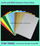 Cartão alaranjado plástico em branco de Cr80/30mil para o estoque do varejista