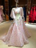 Vestido de noiva de organza de amostra de rosa de alta qualidade delicada