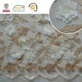 Alta tela del cordón del bordado de Qlty con la boda/la señora alta manera 005 del brillo Sequin+Beads de la alineada llena