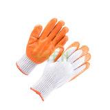 7 перчаток ладони померанцового латекса датчика Coated, хлопчатобумажная пряжа промышленной защитной безопасности работая окунули перчатки