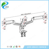 Jeo Ys-Ga34u pour la canalisation verticale en aluminium de support de moniteur de bride de moniteur de bras de moniteur de moniteur triple d'ordinateur