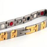 Edelstahlwristband-Goldsilber überzogenes Armband mit negativem Ion