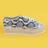 La sola unità di elaborazione del leopardo della più nuova iuta piana casuale delle signore alta merletta in su le scarpe di tela della piattaforma per le donne