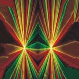 2つのヘッド赤い緑のディスコDJのレーザー光線