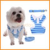 Roupa de passeio da veste listrada do chicote de fios do animal de estimação do cão do estilo da camisa de polo