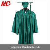 Vert vert brillant de robe de chapeau de la graduation des enfants