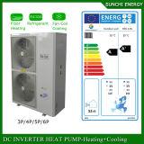 O medidor Room12kw/19kw/35kw do aquecimento de assoalho 100~350sq do inverno de Netherland-25c Auto-Degela tanque rachado da bomba de calor da água do ar de Evi da bobina elevada