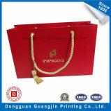 金ロゴの高品質の赤いカラーペーパーショッピング・バッグ
