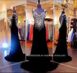 O cristal formal do vestido de veludo preto perla o vestido de noite feito sob encomenda E142017 da sereia da V-Garganta