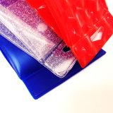 Bolso transparente del maquillaje del PVC de las manetas con el botón