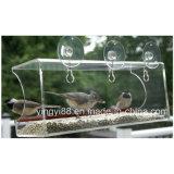 Alimentador salvaje de acrílico del pájaro de la calidad estupenda con la taza de la succión del &Strong de los orificios de dren
