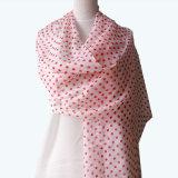 かわいい女の子ポリエステル軽くて柔らかく赤い点のスカーフ