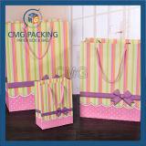 Las rayas imprimieron el regalo pila de discos la bolsa de papel dulce con la cuerda de los PP (CMG-MAY-059)
