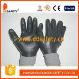 Nylon gris avec le gant noir Dnn442 de nitriles