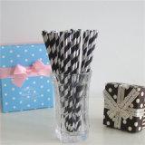 Papier rayé Foil Argent Noir Pailles à Boire flexible