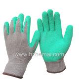 Перчатка работы безопасности латекса перчаток хлопка большого пальца руки польностью окунутая покрытая