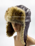 Lambskin & Rabbit Fur White Ushanka Warm Hat с Ear Flap