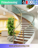 Крытая лестница Cuved лестниц плавая стекла