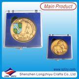 Pièce de monnaie de cadre de velours de souvenir plaquée par argent en alliage de zinc exquis