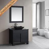 Moderner Entwurfs-Schwarz-festes Holz-Badezimmer-Schrank
