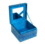 Handgemachtes Fabric Jewelry Box mit Gold Trim