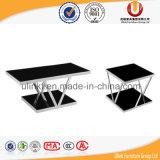 Koffietafel van het Glas van de Benen van het metaal de Moderne (ul-STB36)