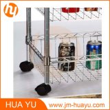 600 * 350 * 1200 mm, 3-Tier Rack de alambre 4 Cestas Wire Display Rack con ruedas