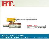 Vávula de bola de cobre amarillo del gas de la parada recta de la cuerda de rosca con la maneta de acero