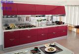 Armadi da cucina rossi della lacca lucentezza lucida di lusso di disegno di alta