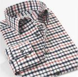 Хлопчатобумажная пряжа Mens покрасила рубашку втулки проверок длиннюю