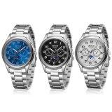 Reloj impermeable del cuarzo del regalo del código tres calientes de acero del estilo de la tira de los hombres